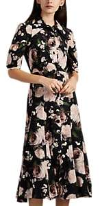 Erdem Women's Gisella Painted Floral Silk Satin Shirtdress - Black Multi