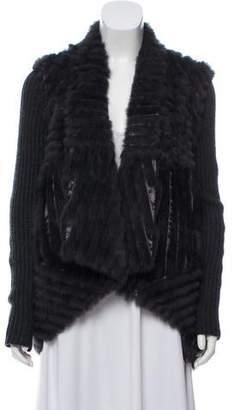 Haute Hippie Wool-Accented Fur Jacket
