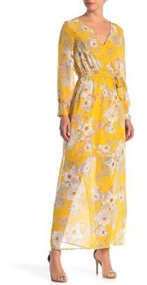 SUPERFOXX Long Sleeve Print Surplice Dress