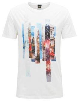 BOSS Hugo Photographic-print T-shirt in washed Pima cotton L White