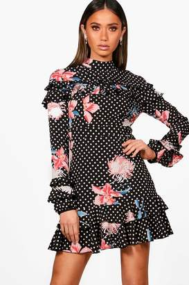 boohoo Boutique Polka Floral Ruffle High Neck Dress