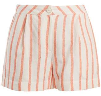 Thierry Colson Biarritz Spugna High Waisted Shorts - Womens - Orange Stripe