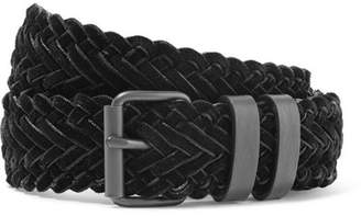 Haider Ackermann Woven Velvet And Leather Belt - Black