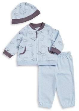Baby Boy's Three-Piece Dino Jacket, Pants, and Beanie Set