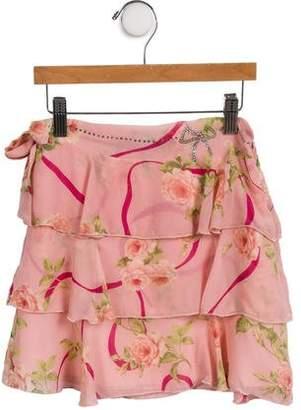 Miss Blumarine Girls' Silk Floral Printed Skirt