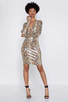 Nasty Gal The Snake of Dawn Sequin Dress