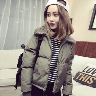 hearnice Spring Autumn Winter Outerwear Coat Women Fashion Lambs Collar Down Cotton-Padded Jacket Short Casual Female Down Coat