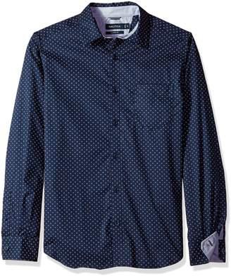 Nautica Men's Long Sleeve Stretch Poplin Wrinkle Resist Printed Shirt