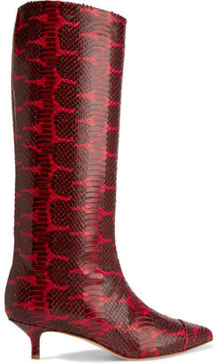 Tibi Hart Snake-effect Leather Knee Boots - Red