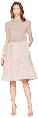 Jil Sander Navy Short Sleeve Knit Dress with Striped Taffetas Skirt Women's Dress