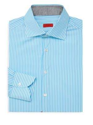 Isaia Spread Collar Striped Dress Shirt