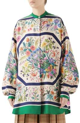 Gucci Floral Print Silk Blouse