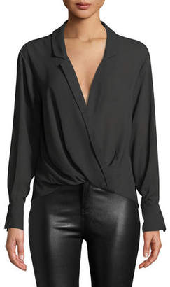 LIKELY Georgette Draped V-Neck Long-Sleeve Top