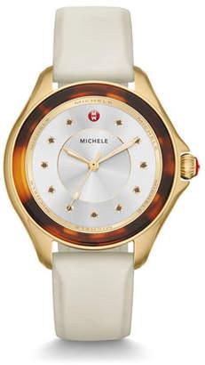 Michele Cape Tortoiseshell Watch with White Strap