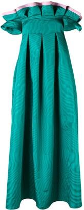 Talbot Runhof bi-colour flared dress
