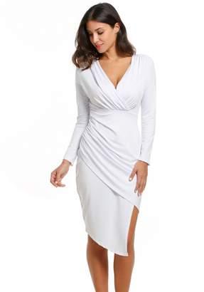 f8afff09719 ACEVOG Women Wrap V-Neck Ruched Skirt Sexy Cocktail Dresses XL