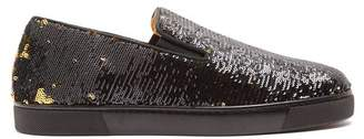 Christian Louboutin Boat Sequin Embellished Slip On Trainers - Womens - Black Gold