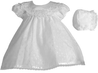 Haddad Brothers Christening Baptism Newborn Baby Girl Special Occasion Cotton Cross Embroidered Dress Gown Outfit w/ Bridal Satin Collar