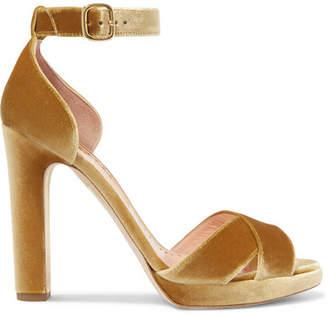 Rupert Sanderson Meadow Metallic Velvet Platform Sandals - Mustard
