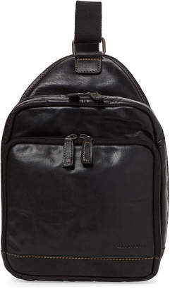 Jack Georges Black Voyager Leather Sling Backpack