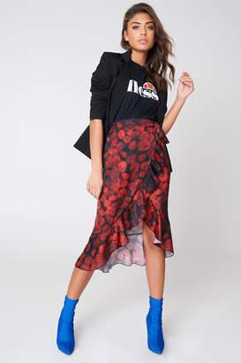 NA-KD Wrap Over Satin Frill Skirt Navy/Purple