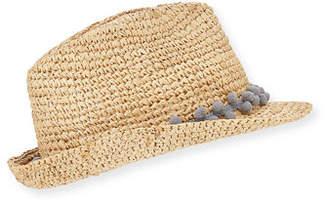 Tracy Watts Hitch Crochet Raffia Fedora Hat w/ Pompom Hat Band