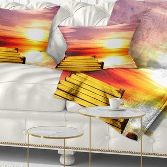 East Urban Home Seascape Burning Sunset in Sky Lumbar Pillow East Urban Home