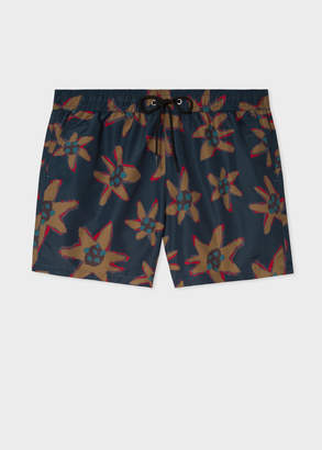 Paul Smith Men's Navy 'Torn Floral' Print Swim Shorts