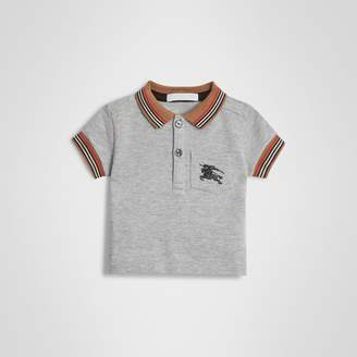 Burberry Icon Stripe Detail Cotton Polo Shirt , Size: 18M, Grey