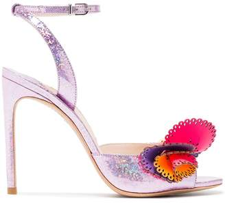 Sophia Webster pink Soleil 100 glitter ruffle leather sandals