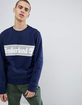 Timberland cut & sew logo sweatshirt in navy/gray
