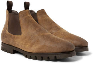 Santoni Shearling-Lined Oiled-Suede Chelsea Boots - Brown
