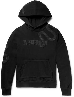 Amiri Embellished Embroidered Fleece-Back Cotton-Jersey Hoodie