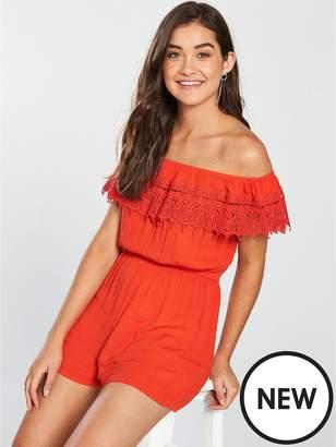 Miss Selfridge Lace Trim Bardot Playsuit - Orange