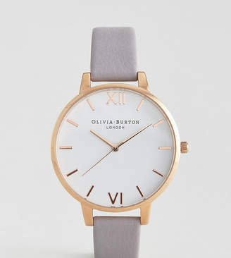 Olivia Burton gray lilac large white dial leather watch