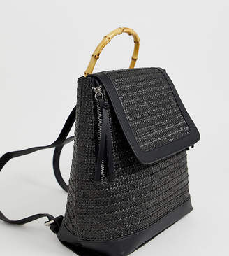 Stradivarius backpack with wooden handle in black