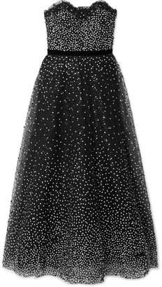 Marchesa Strapless Velvet-trimmed Embellished Tulle Gown - Black