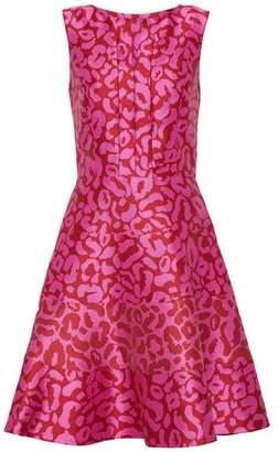 Oscar de la Renta Flared Leopard-Print Satin-Jacquard Dress