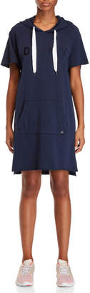 DKNY Logo Embroidered Hoodie Pullover Dress