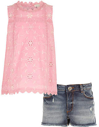 River Island Girls Pink broderie shell top outfit