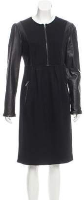 Burberry Leather Trimmed Wool Dress