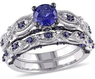 Tangelo 2 Carat T.G.W. Created Blue Sapphire and 1/10 Carat T.W. Diamond 10kt White Gold Milgrain Design Vintage Style Bridal Set