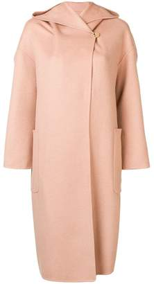 Max Mara hooded shawl collar coat