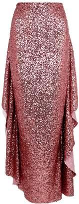 Paula Knorr Pink Draped Sequin Maxi Skirt