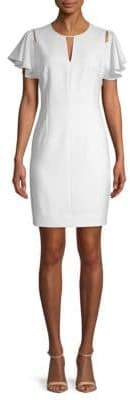T Tahari Lovie Ruffle-Sleeve Sheath Dress