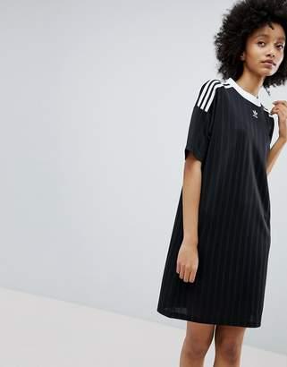 adidas Adicolor Three Stripe Dress In Black