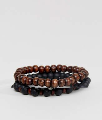 Asos Design Beaded Bracelet Pack In Black And Brown With Skull