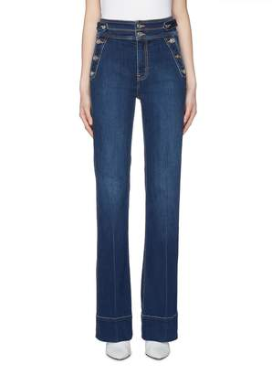 Current/Elliott 'The Maritime' button pocket contrast topstitching flared jeans