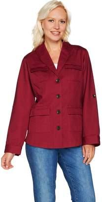 Isaac Mizrahi Live! Button Front Shawl Collar Utility Jacket