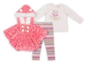 Little Lass Little Girl's Three-Piece Faux Fur Jacket, Graphic Tee & Patterned Leggings Set
